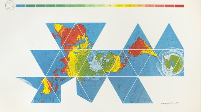 buckminster fullers map of the world the innovation that revolutionized map design 1943 open culture gis maps remote sensing pinterest map