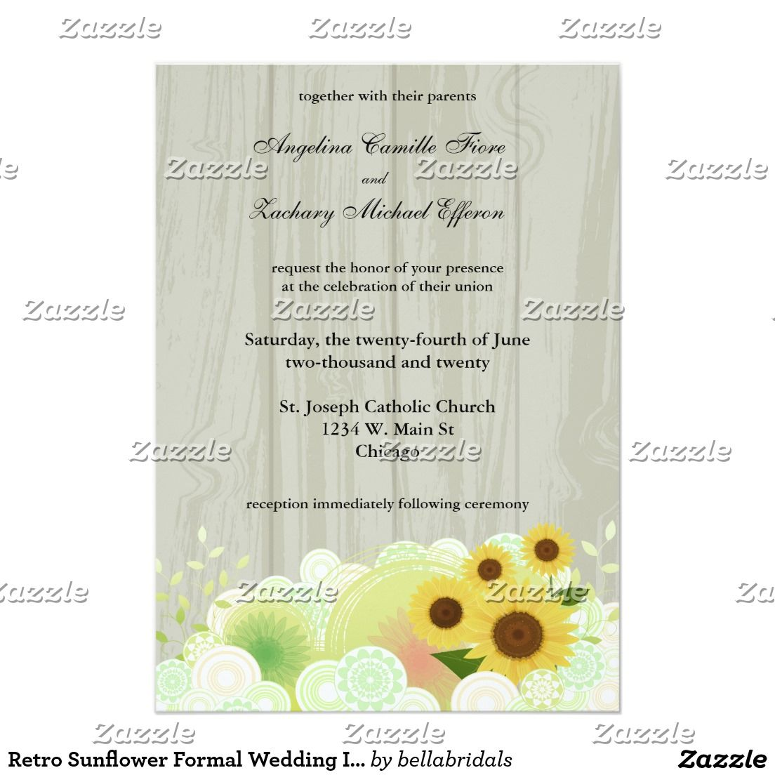 Retro Sunflower Formal Wedding Invitation Formal Wedding