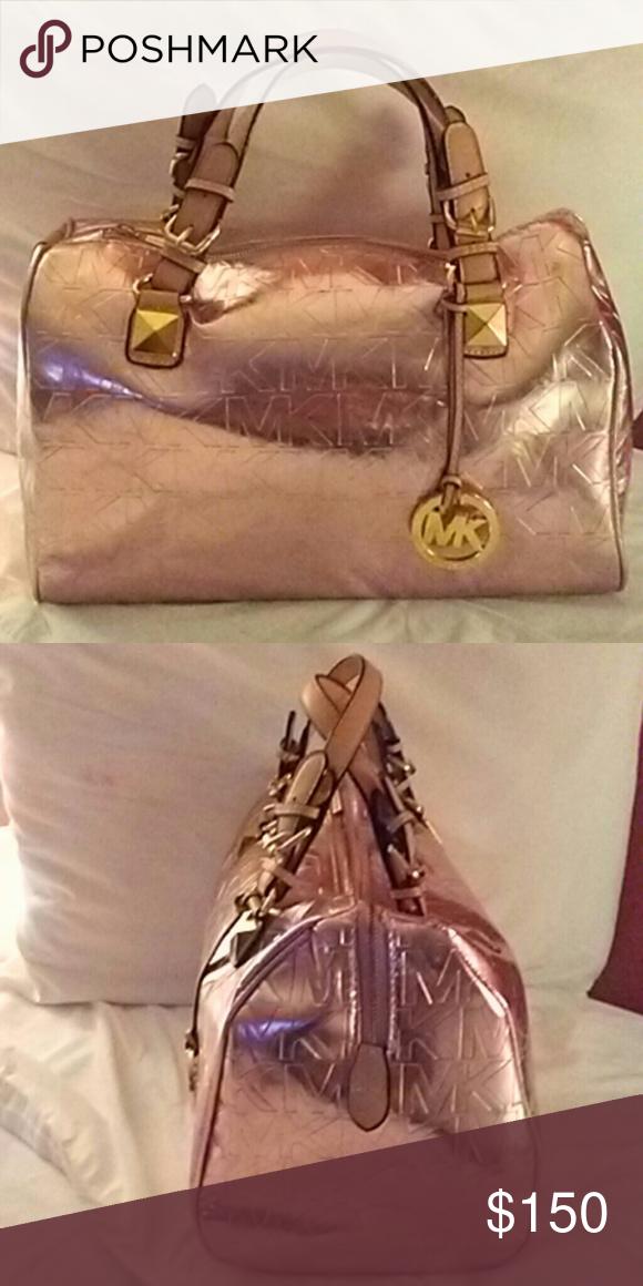 497ad0f5e78d Metallic Rose gold Michael Kors Satchel Handbag Large Metallic Rose gold  Michael Kors Satchel Michael Kors Bags Satchels
