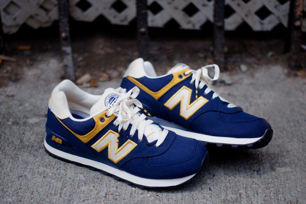 new balance 574 blue and yellow