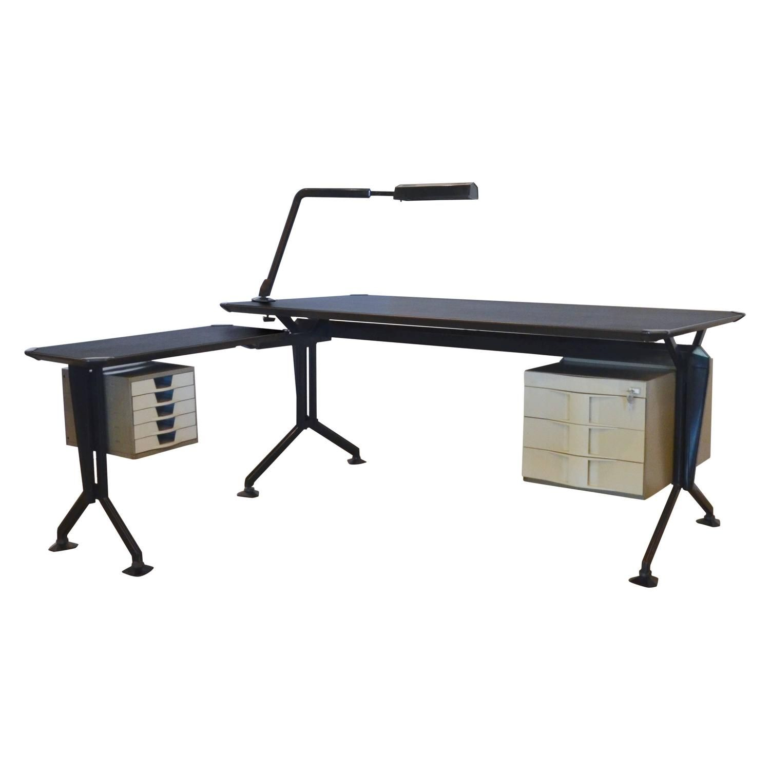 Olivetti Arco Desk with Return and Lamp