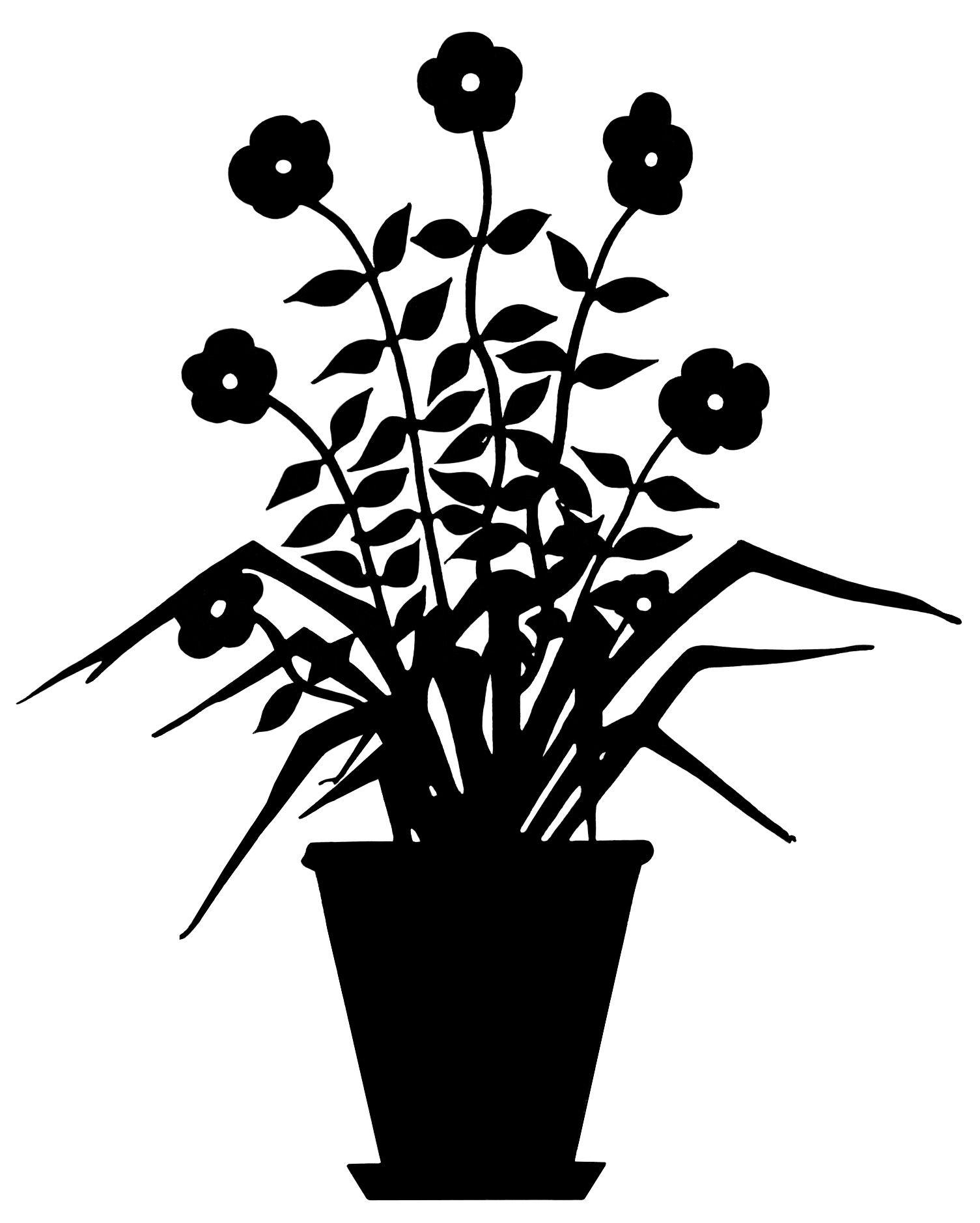 vintage flower clip art flowering plant silhouette black and white