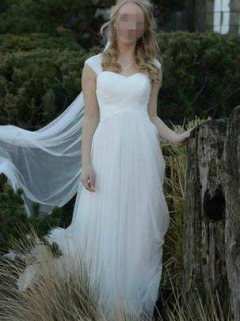 David\'s Bridal Swiss Dot Tulle Empire Waist Soft Wedding Gown ...