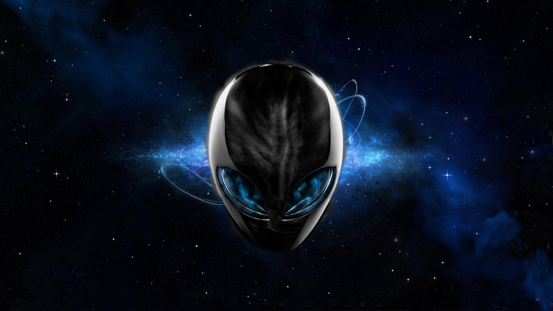 alienware desktop background blue space alienware head 1920x1080