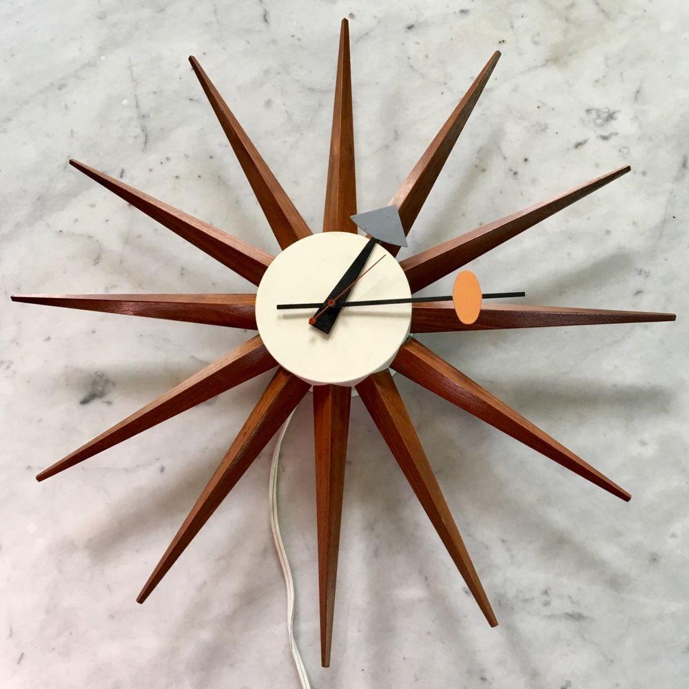 Vintage George Nelson Starburst Clock Howard Miller Spike Star