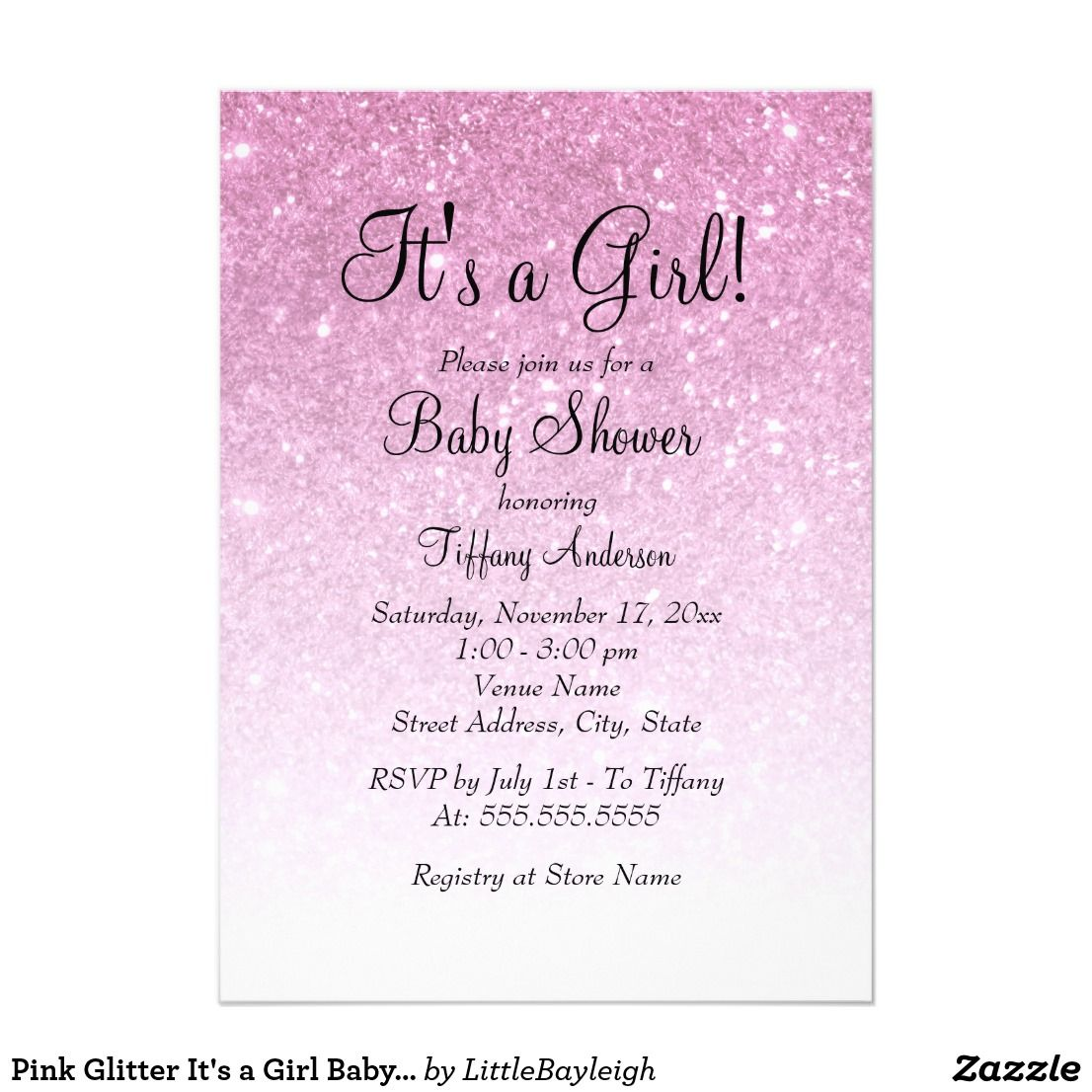 Pink Glitter It S A Girl Baby Shower Invitation Shower Invitations