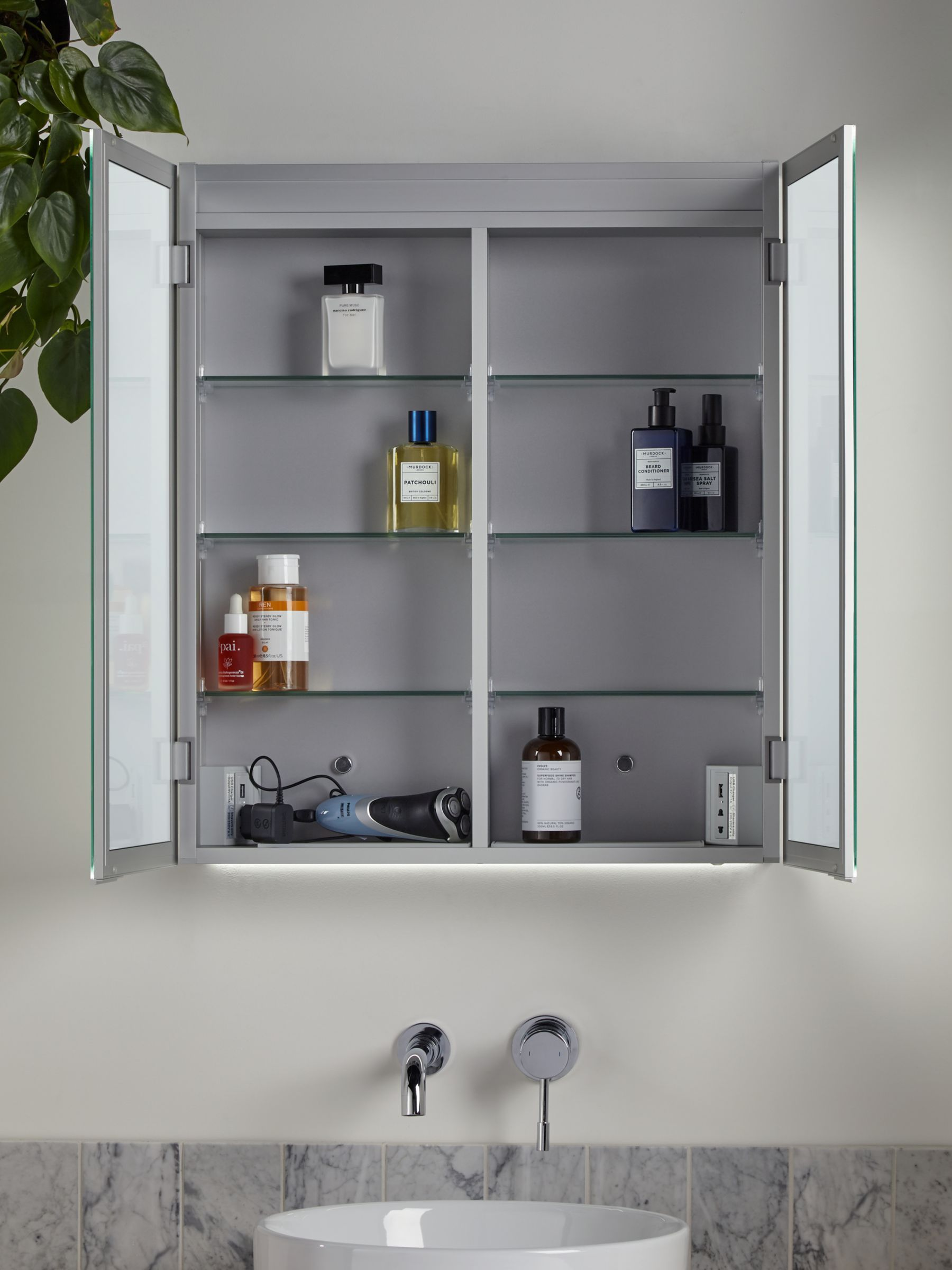 John Lewis Partners Aspect Double Mirrored And Illuminated Bathroom Cabinet In 2020 Bathroom Cabinets Adjustable Shelving Bath Or Shower