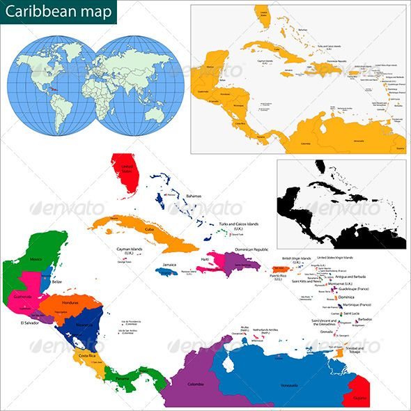 Caribbean Map GraphicRiver Vector map of The Caribbean drawn with