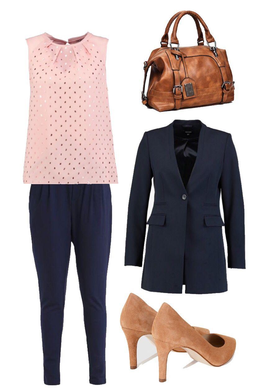 Pantalones Azul Marino Blazer Azul Marino Blusa Rosa Salones