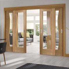 Four Sliding Doors And Frame Kit Emilia Oak Flush Door Stepped Panel Design Clear Glass Unfinished Wooden Sliding Doors Door Glass Design Living Room Door