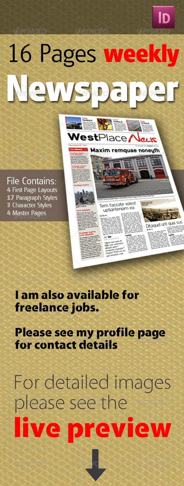 16 Pages Weekly Newspaper Newsletter Templates Print Templates