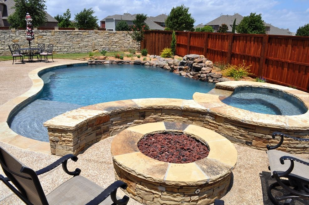 Dallas texas swimming pools and spas photos inground for Pool and firepit design