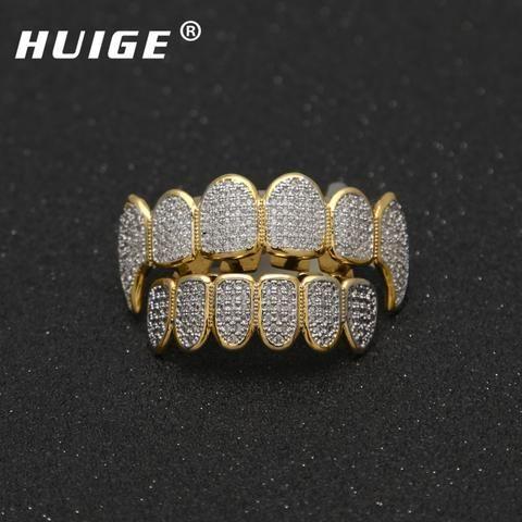 Gold Color Hip Hop Micro Pave Cubic Zircon Teeth Grillz Caps Top Bottom Men  Women Vampire Fangs Grills set 4644c6bc0a