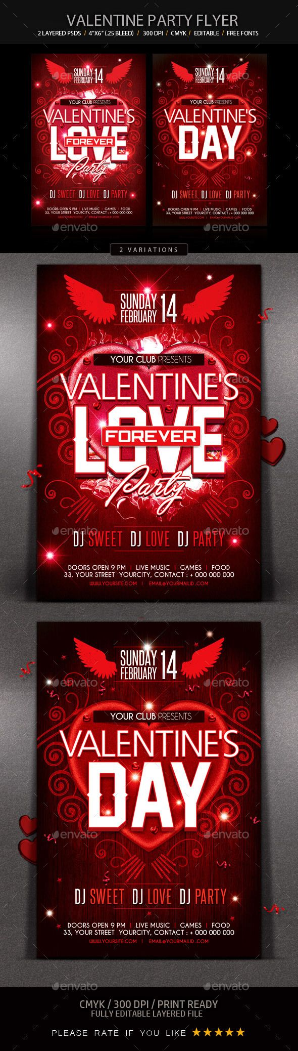 ValentineS Party Flyer  Party Flyer Flyer Template And Brochure