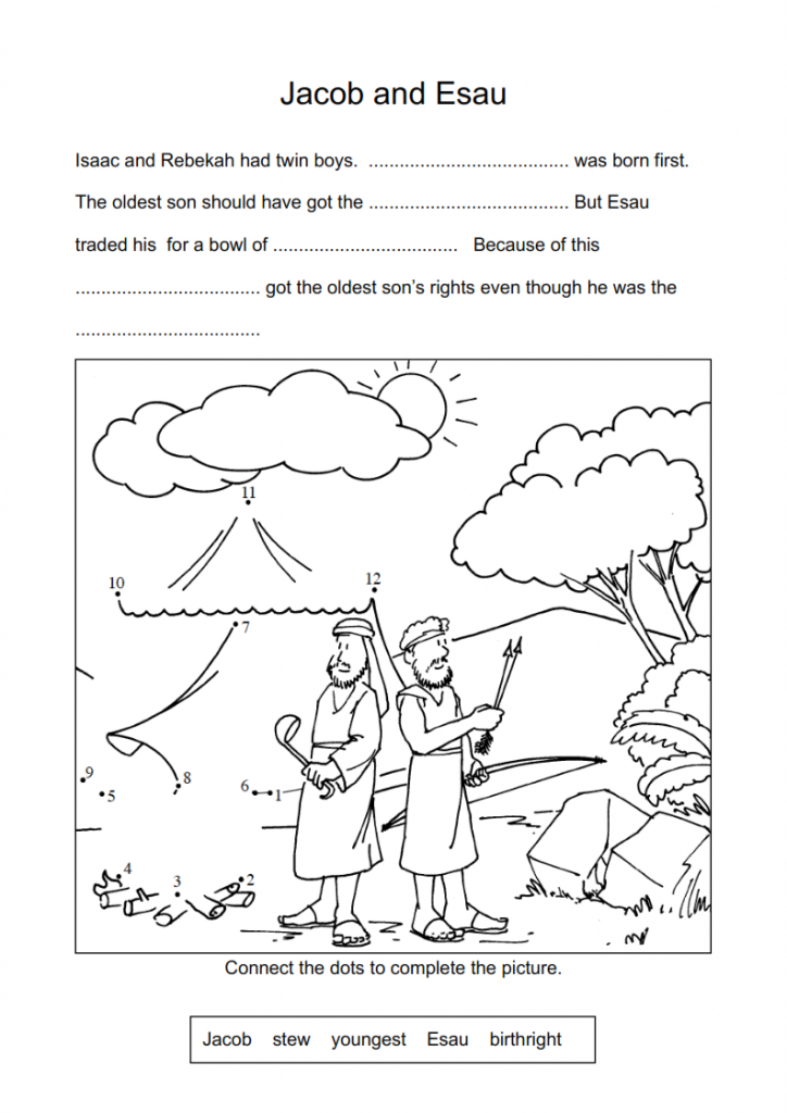 Jacob Esau Worksheets And Coloring Pages