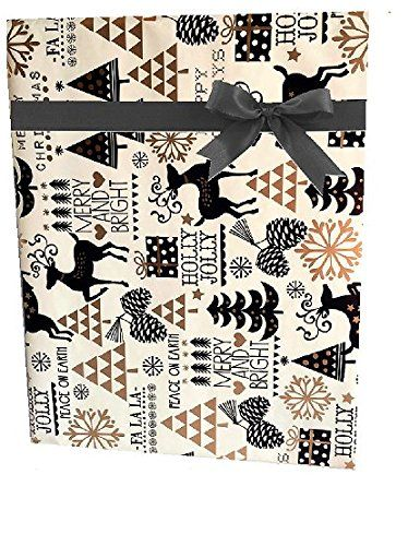 gold reindeer and snowflakes merry christmas script holiday gift wrap paper 16 foot roll be