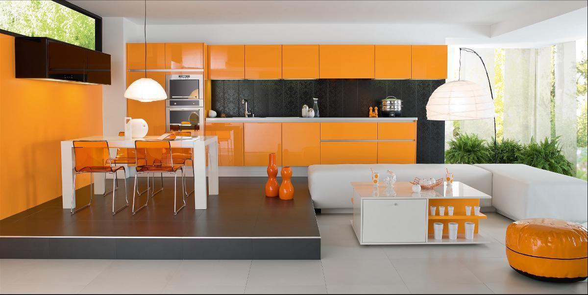 Couleur De Cuisine Moderne #7: Cuisine Moderne Couleur Orange - Lune Du0027eau - Par Perene Cuisines