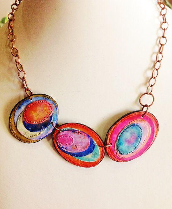 Polymer clay, necklace, unique handmade