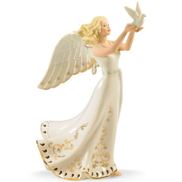 jewels of light musical angel figurine by lenox - Christmas Angel Figurines