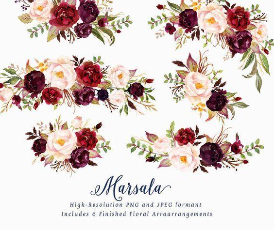 Watercolor Floral Clip Art Marsala Individual Png By Graphicsafari