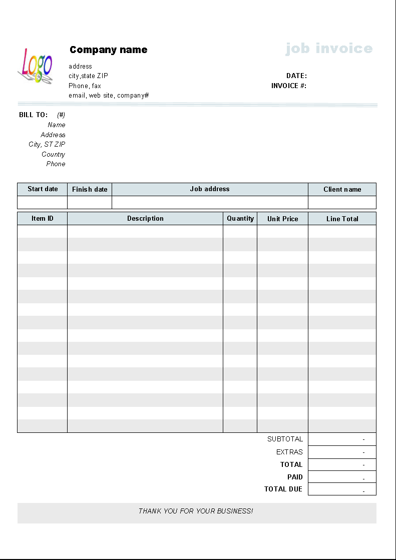 Editable blank invoice invoice template invoice for Work invoice