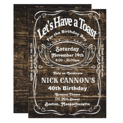 Any Age  Male Birthday Wood Invitation  Invitations Personalize
