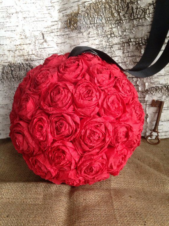 Paper Rose Flower Pomander Hanging Kissing Ball Crepe 10