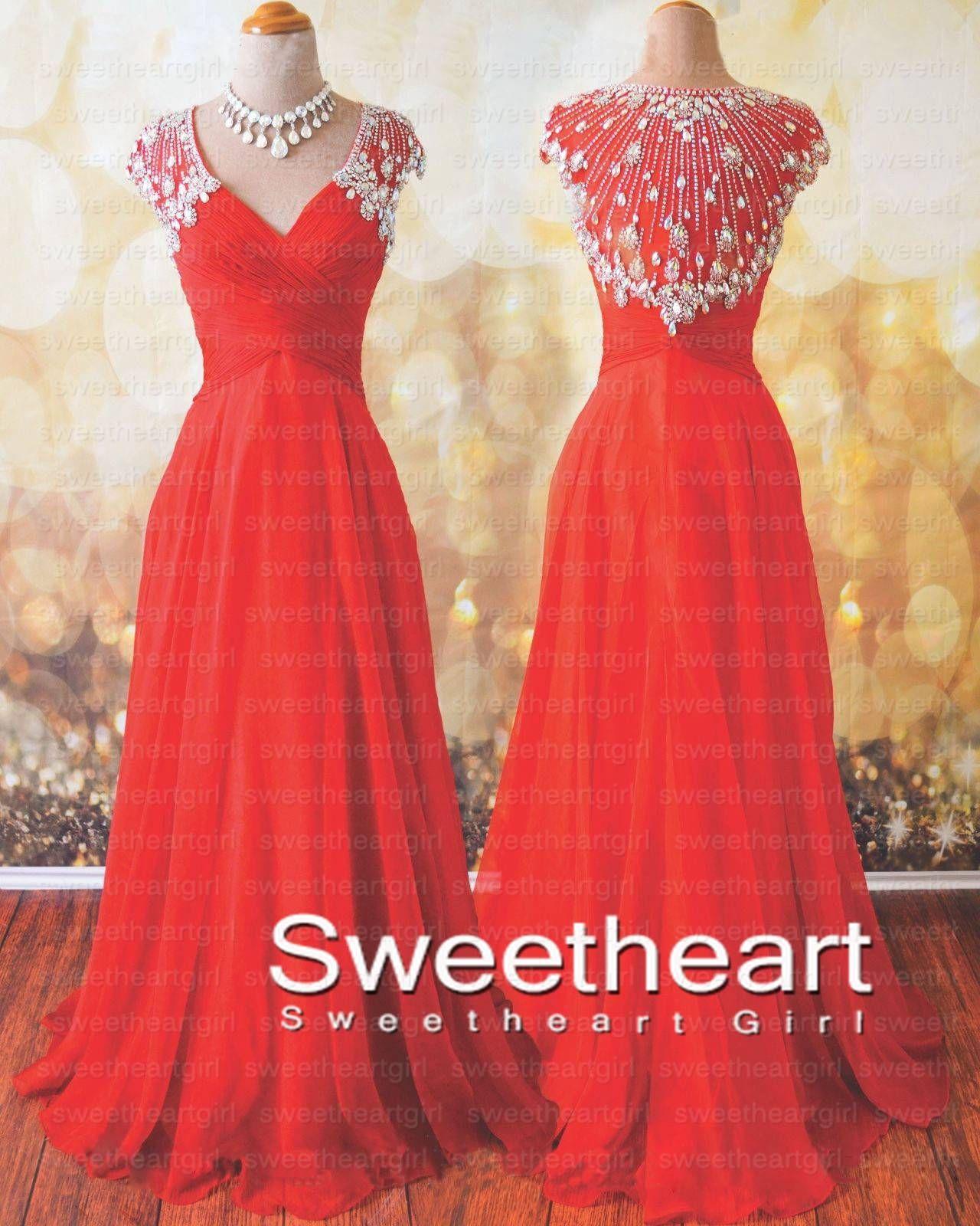 Sweetheart girl red v neck chiffon rhinestone long prom dress