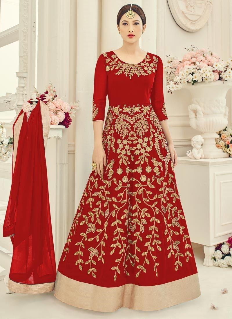 Gauhar khan red embroidered work floor length anarkali suit