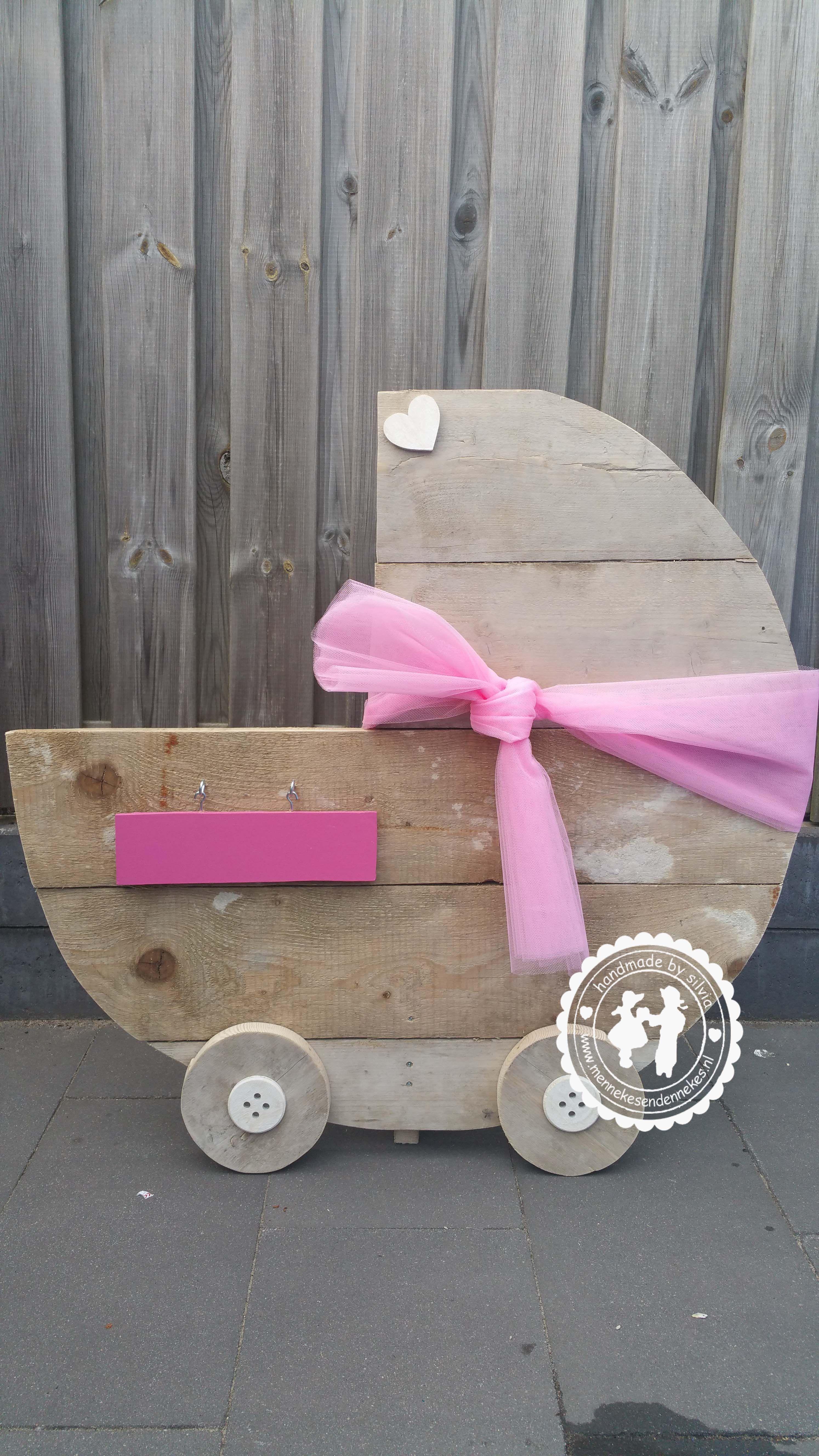 Geboortebord kinderwagen steigerhout