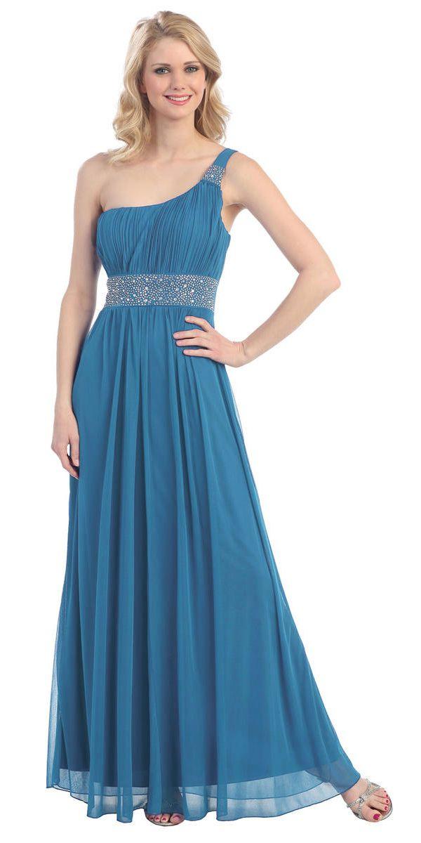 One Shoulder A Line Teal Formal Dress #discountdressshop #tealdress #formaldress #oneshoulder #bridesmaids #chiffondress
