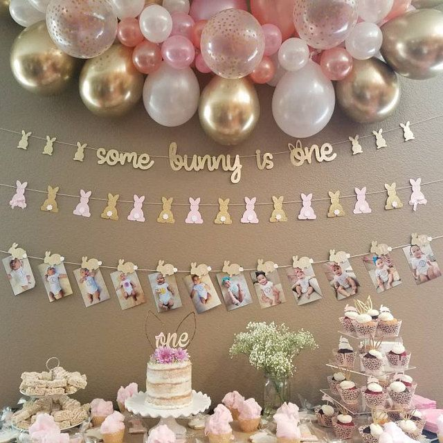 DIY Bunny Party Garland Kit in Pink and Gold for 1st Birthday. First Birthday Decorations. Some Bunny is One! Do It Yourself Project!