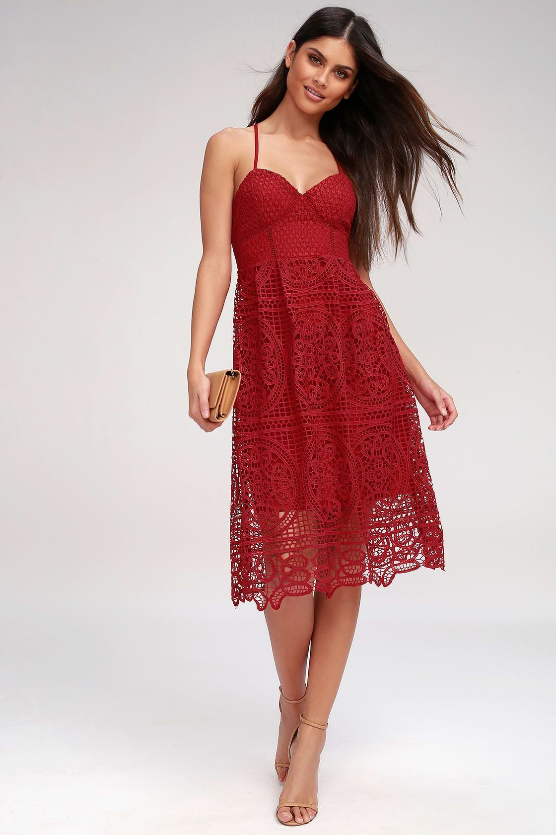 40 More Gorgeous Wedding Guest Dresses Pearls Prada Red Lace Midi Dress Red Lace Dress Lace Midi Dress [ 1680 x 1120 Pixel ]