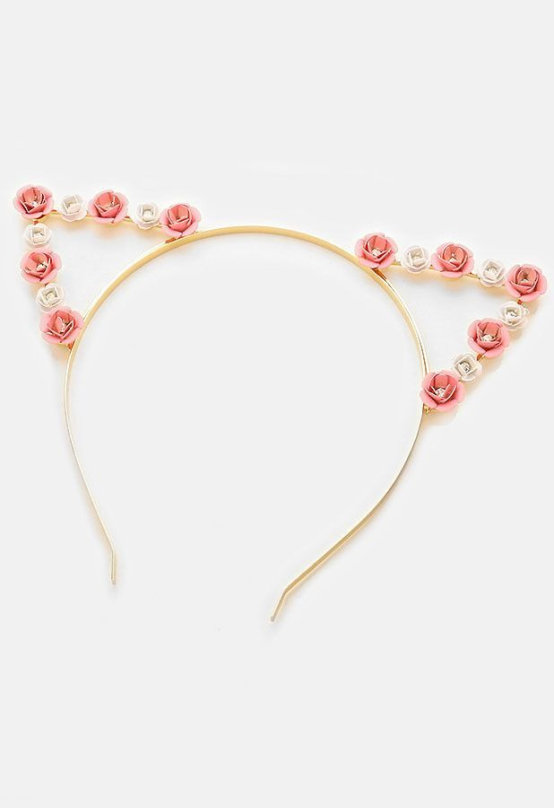 a6dd819e91a62 Super cute gold metal cat ear headband with pink and white flowers. More
