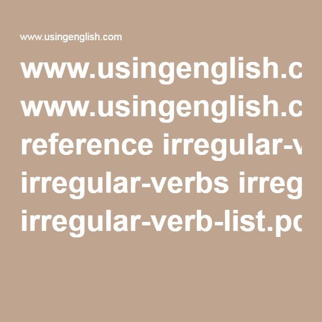 wwwingenglish reference irregular-verbs irregular-verb-list - verb list