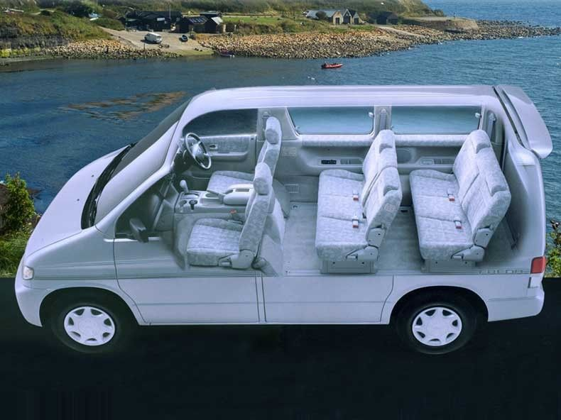 The inside of an in-converted Bongo  The rear seats can also