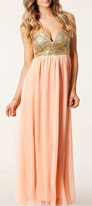 Sequins Decorated Pink Bustier Maxi Chiffon Dress
