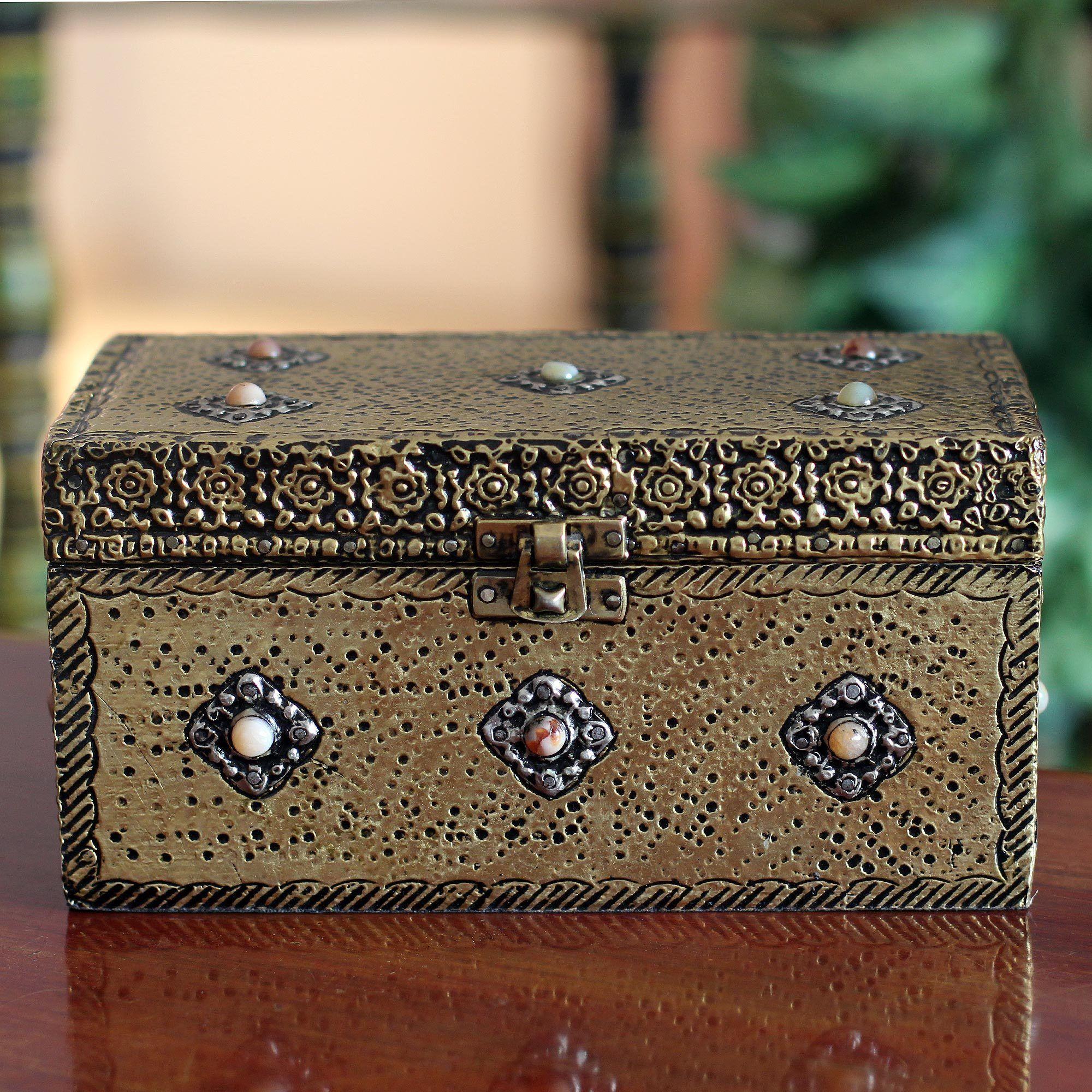 Novica Handcrafted Brass Mughal Treasure Chest Classic Jewelry Box