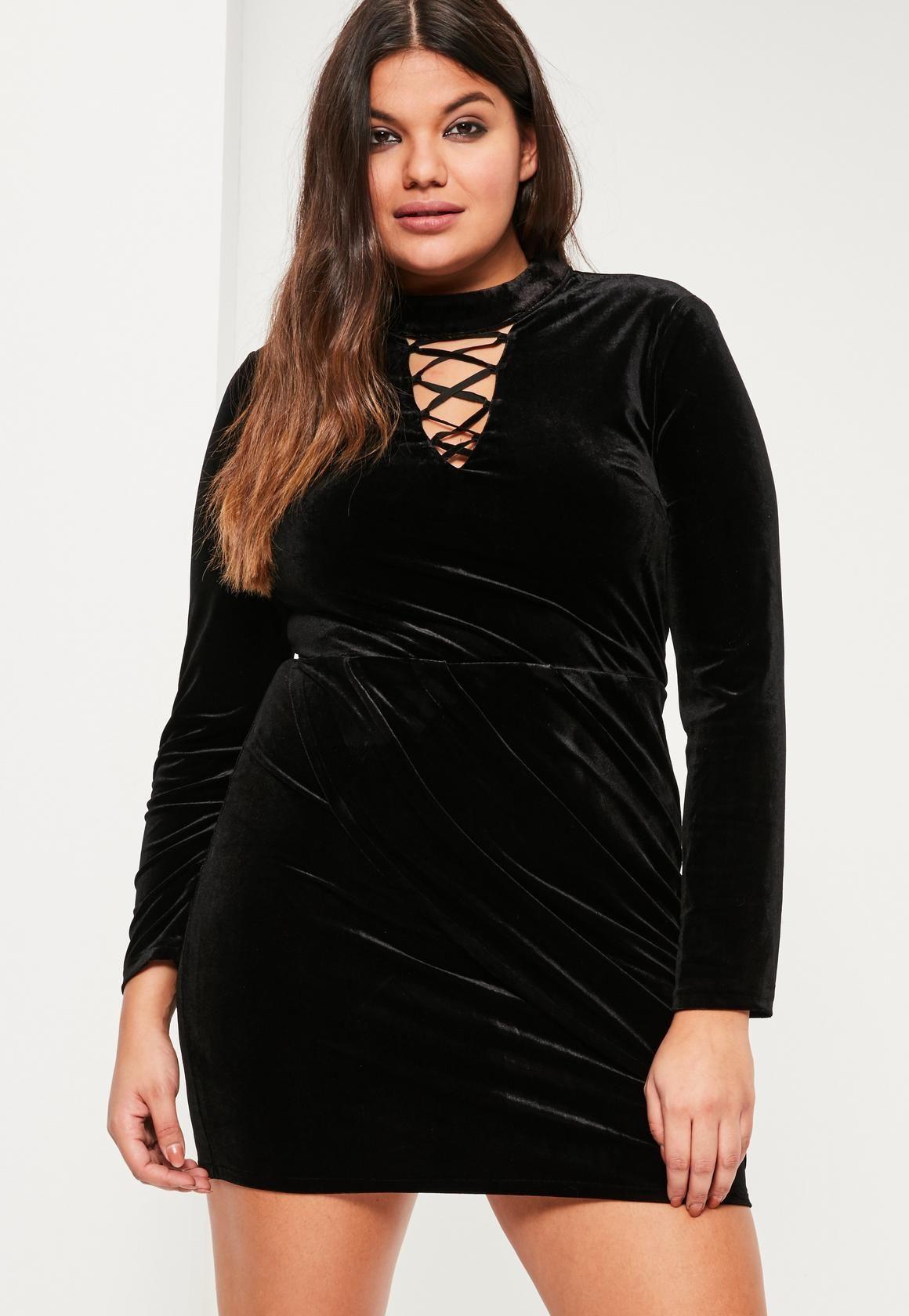 Plus Size Black Velvet Lace Up Detail Dress