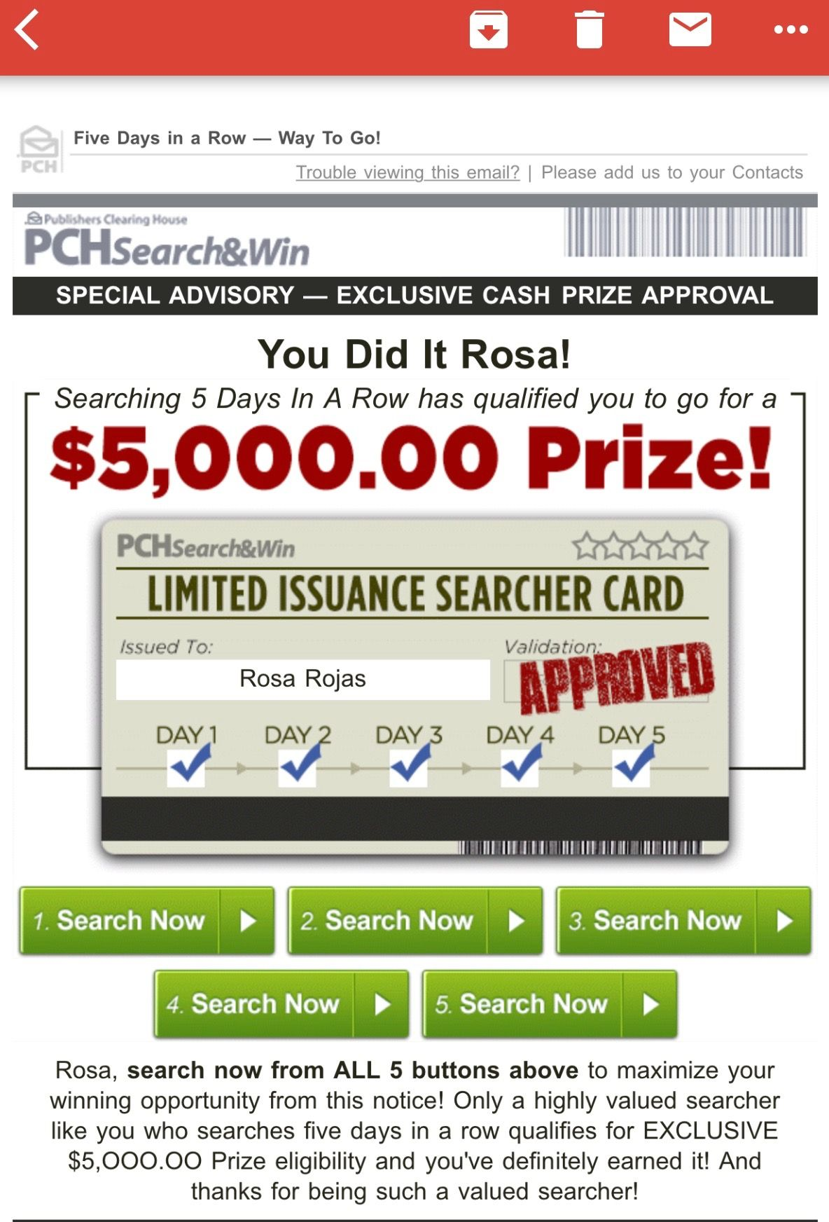 PCHSEARCH&WIN I RRojas Claim My 5 Searches Exclusive Cash