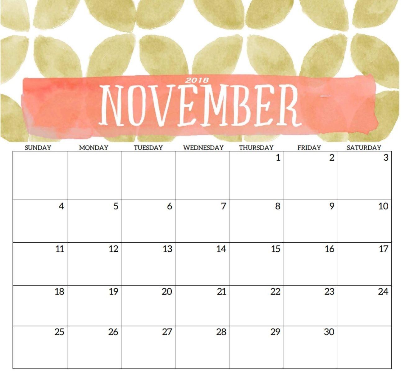 Calendar November 2018 Printable Template November 2018 Calendar