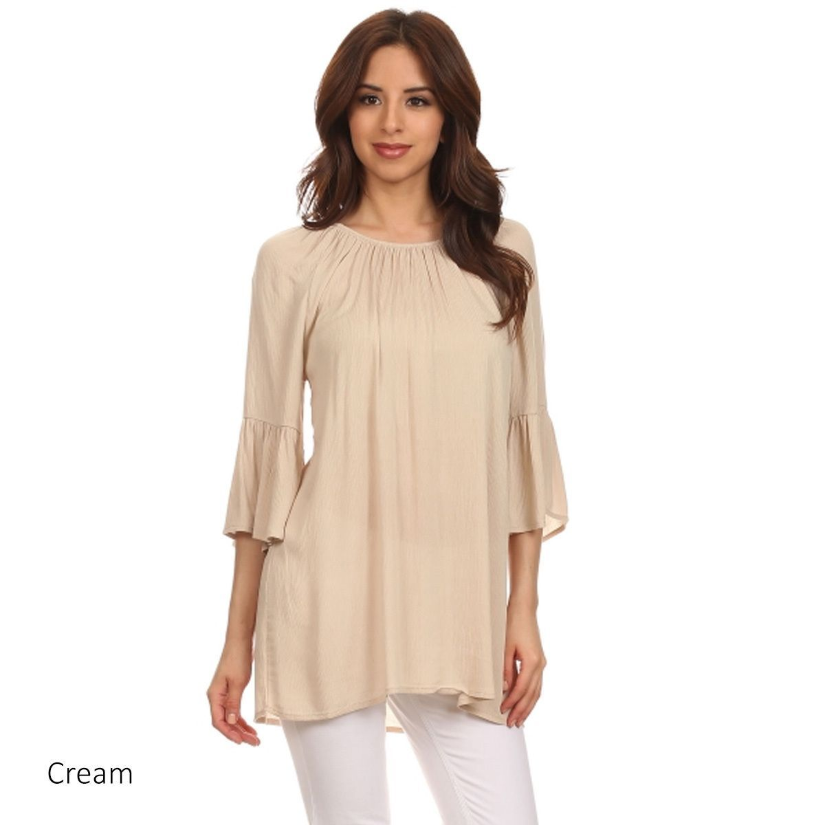 Women's Solid-colored 3/4-sleeve Blouse