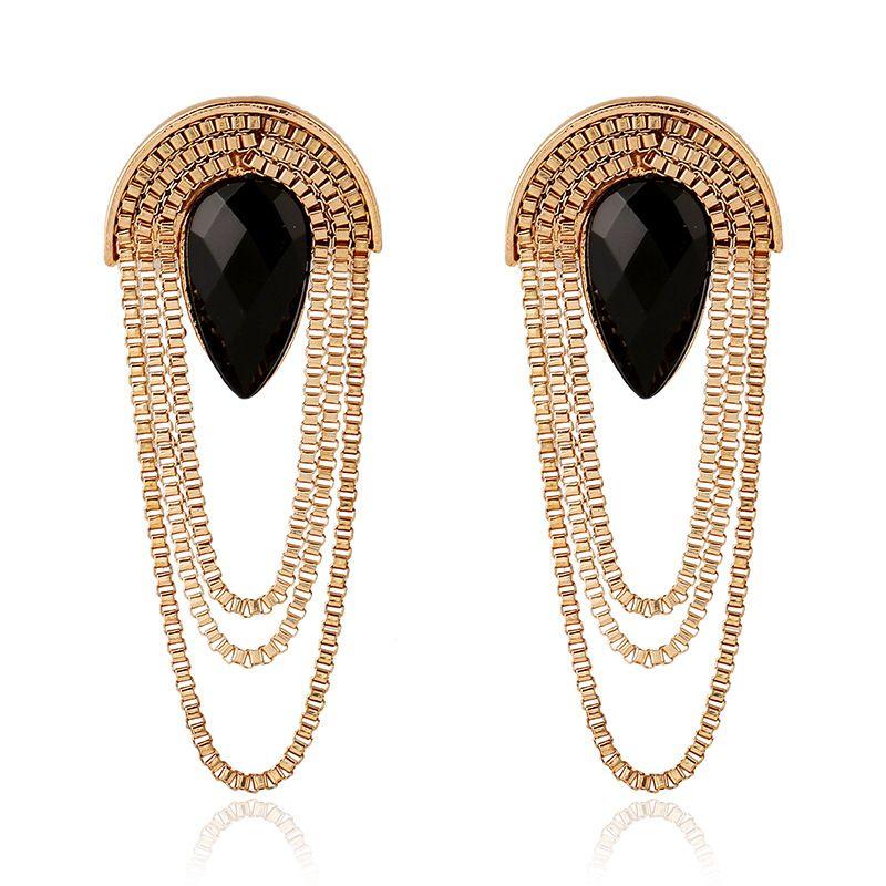 New retro fashion earrings black crystal multi-layer chain tassel ...