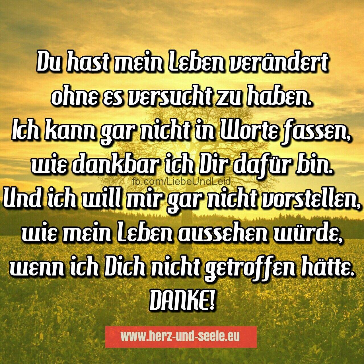 herz-und-seele.eu | Du hast mein Leben verändert… | Gedichte und sprüche, Sprüche, Zitate