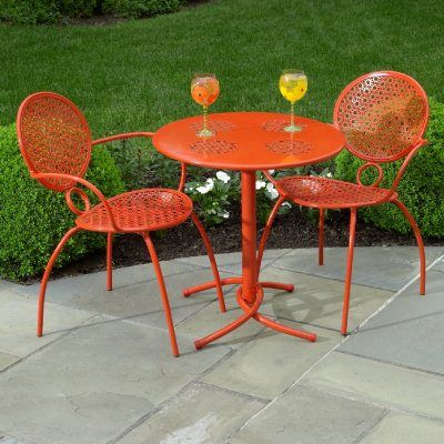 Wrought Iron Bistro Set 3 Pcs Margarita Orange Al 29 9130