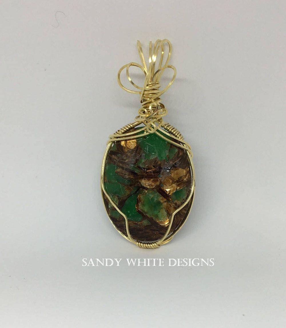 Gold Wire Wrapped ~ Green Copper Bornite Pendant ~Oval Shape ...