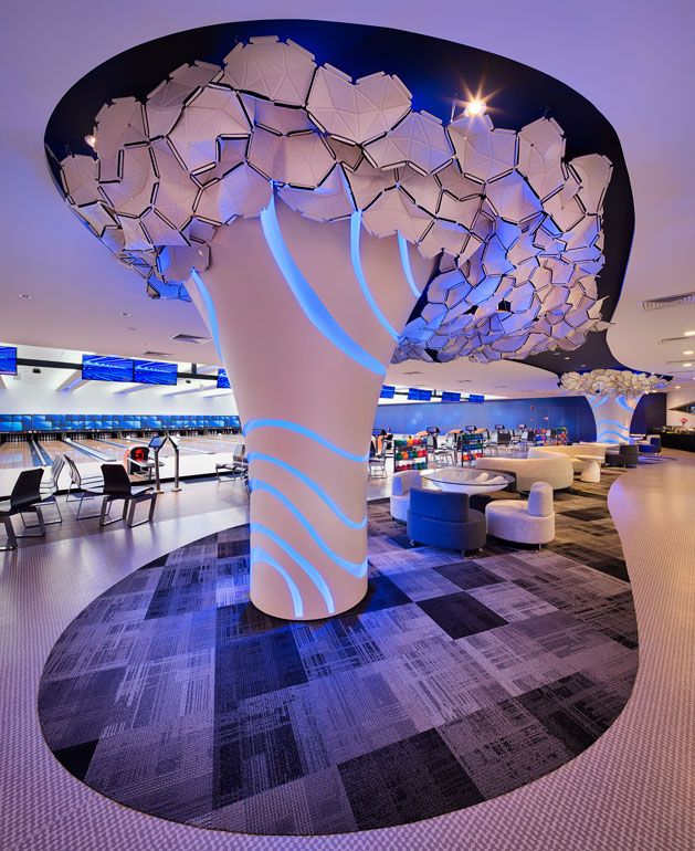 Singapore S Playful New Bowling Center Integrates History And Vision For The Future Interior Design Pillar Design Column Design Interior Design Magazine