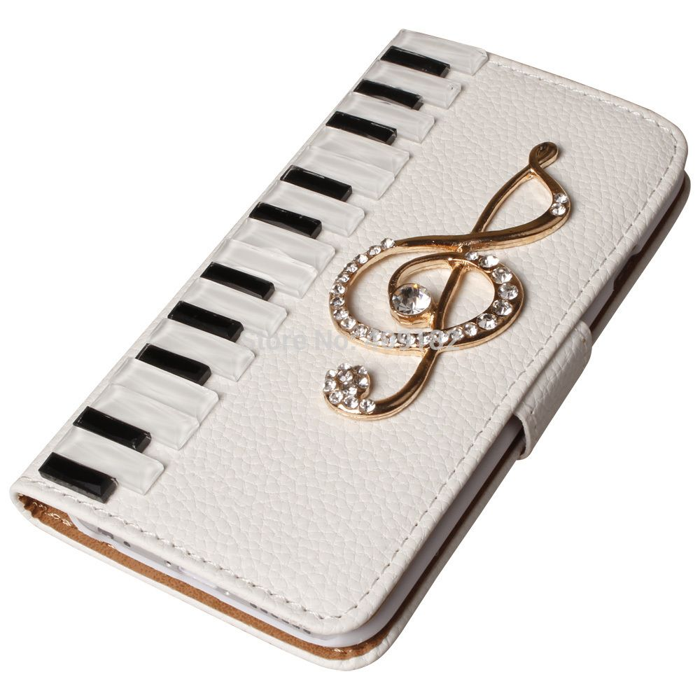 Luxury Leather 3D Piano Keys Musical Bling Crystal Case Cover For iPhone 4 5 5s 6 6Plus For Galaxy S3/4/5/6 Note 2 3 4 Mini | iPhone Covers Online