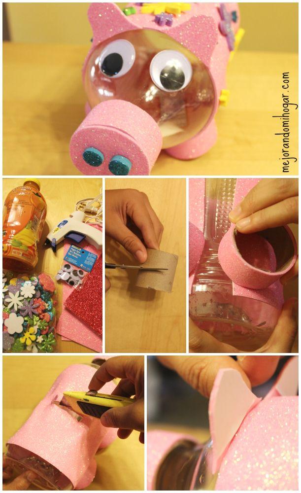 Como hacer una alcanc a de cochinito con una botella - Como hacer una hucha ...