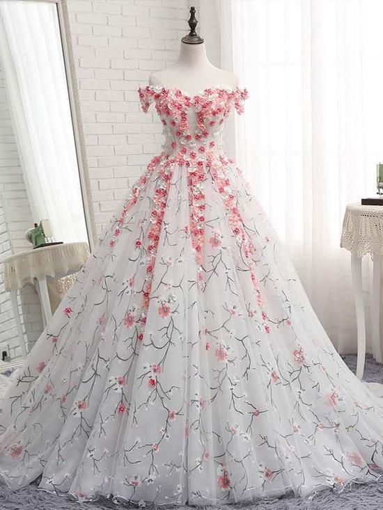 Ball Gowns Off-the-shoulder Prom Dresses With Applique Evening Gowns Long Prom